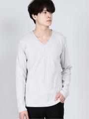 両面起毛 杢テレコ Vネック長袖Tシャツ