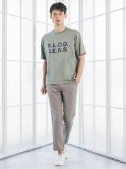 綿天竺プリント クルーネック半袖BIGTシャツ