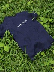 シルバー箔プリント クルーネック半袖Tシャツ