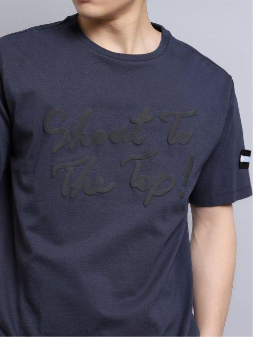 綿天竺プリント クルーネック半袖Tシャツ