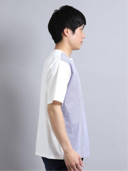 綿切替プリント クルーネック半袖BIGTシャツ