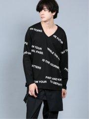 シェラック/SHELLAC ロゴプリントVネック長袖Tシャツ