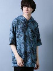 【WEB限定カラー】シェラック/SHELLAC デジタルアース柄 5分袖プルパーカー