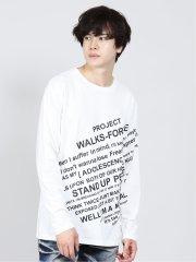スラッシュロゴ クルーネック長袖ゆるTシャツ