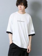 フェイクレイヤード クルーネック半袖BIGTシャツ