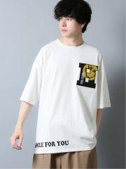 スマイリーフェイス/SMILY FACE×SD ロゴプリント クルーネック半袖Tシャツ