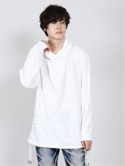 ドレープレースアップ 長袖ゆるTシャツ