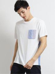 布帛ポケット付きクルーネック半袖Tシャツ