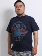 【大きいサイズ】グランバック/GRAND-BACK 綿天竺フラガール クルーネック半袖Tシャツ