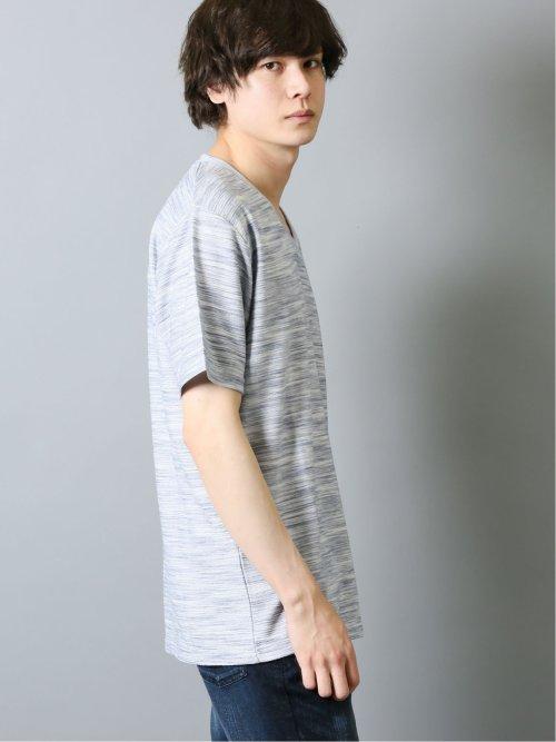 接触冷感リップル Vネック半袖Tシャツ