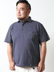 【大きいサイズ】グランバック/GRAND-BACK 鹿の子 小紋柄半袖ポロシャツ
