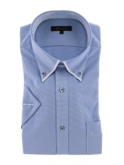 Biz ストレッチ吸水速乾 ボタンダウン半袖ニットシャツ