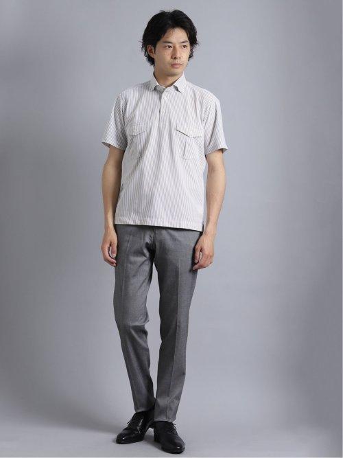 ノーアイロンストレッチ ダブルポケット半袖ポロシャツ