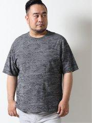【大きいサイズ】ジーステージ/G-stage 日本製フラワージャガード半袖Tシャツ