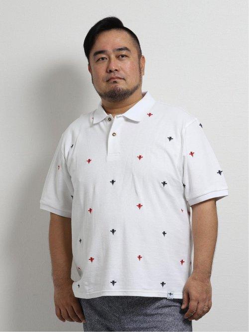 【大きいサイズ】ジーステージ/G-stage 総飛び柄刺繍半袖ポロ