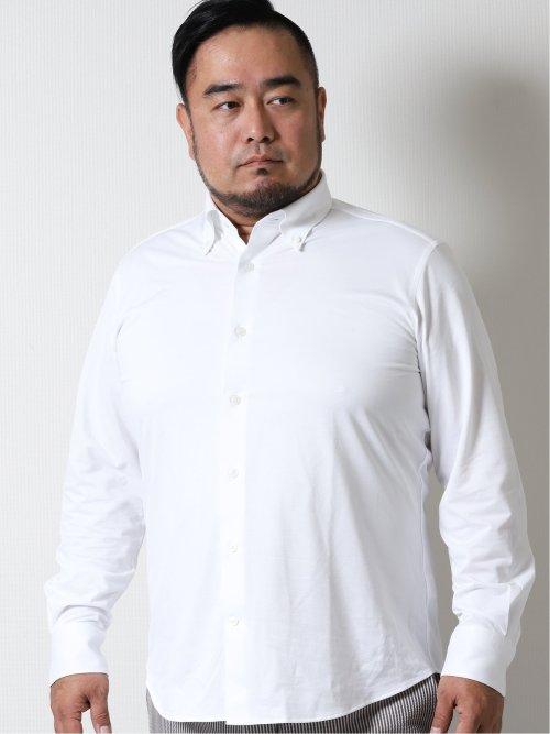 【大きいサイズ】ジーステージ/G-stage ストレッチジャージ ボタンダウン長袖シャツ