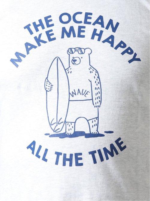 【大きいサイズ】グランバック/GRAND-BACK サーフプリント クルーネック半袖Tシャツ
