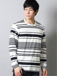 ボール/BALL ランダムボーダー クルーネック長袖Tシャツ