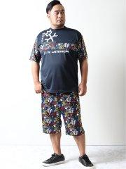 【大きいサイズ】カステルバジャック/CASTELBAJAC 昇華転写 セットアップ半袖Tシャツ