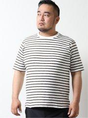 【大きいサイズ】グランバック/GRAND-BACK ミニパイルボーダー クルーネック半袖Tシャツ