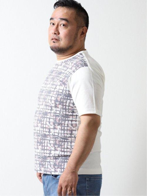 【大きいサイズ】グランバック/GRAND-BACK 前身切替サッカー クルーネック半袖Tシャツ