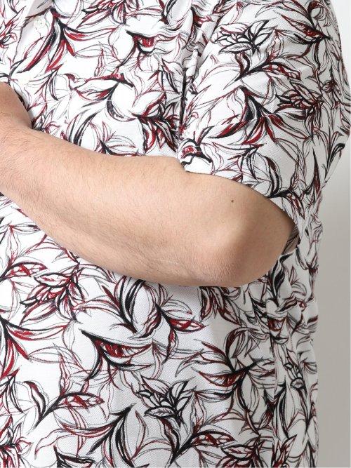 【大きいサイズ】グランバック/GRAND-BACK ボタニカルプリント 半袖ポロ