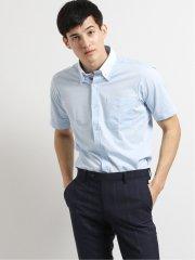 Biz ボタンダウン半袖ニットシャツ 青ヘリンボン