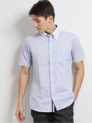 Biz ボタンダウン半袖ニットシャツ サックス ストライプ