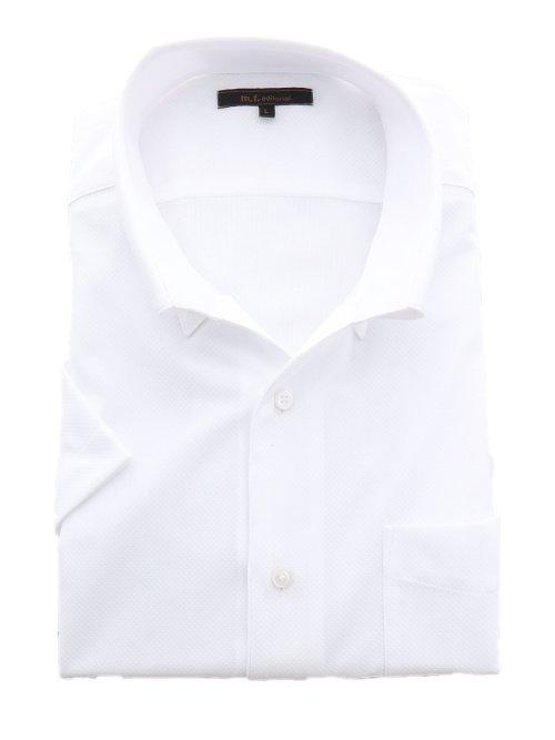 Biz トリコット スキッパーボタンダウン半袖ニットシャツ