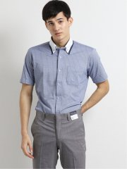 Biz ボタンダウン半袖ニットシャツ 青ストライプ
