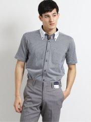 Biz ボタンダウン半袖ニットシャツ 紺ストライプ