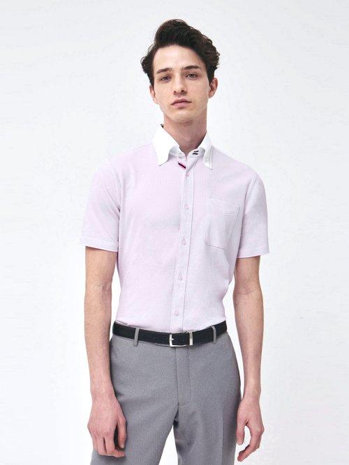 Biz 市松クレリックボタンダウン半袖カットシャツ