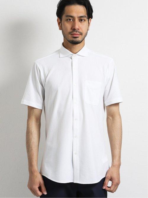 Biz カッタウェイ半袖ニットシャツ  サッカー