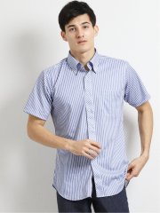 Biz クールパス/COOLPASS ボタンダウン半袖ニットシャツ ストライプ