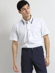 Biz クールパス/COOLPASS ボタンダウン半袖ニットシャツ 千鳥