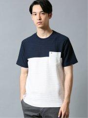 【WEB限定】アーノルドパーマー/Arnold Palmer ジャガードパネル切替 クルー半袖Tシャツ