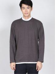 【WEB限定】快適 モックネック フェイクレイヤード 長袖Tシャツ