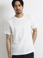 ボルテックス/VORTEX リップル切替クルーネック半袖Tシャツ