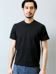 ソロテックス/SOLOTEX ヘリンボンジャガード クルーネック半袖Tシャツ