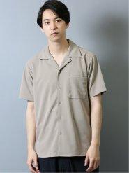 カットジョーゼット オープンカラー半袖シャツ