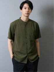 カットジョーゼット バンドカラー半袖シャツ