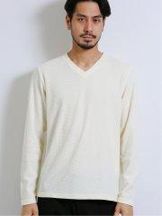 ローゲージ鹿の子Vネック長袖Tシャツ