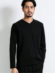 【DRESS T-SHIRT】ソロテックス/SOLOTEX 針抜きVネック長袖Tシャツ
