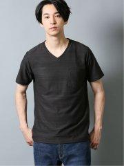 シャドーボーダー胸ポケット付き Vネック半袖Tシャツ