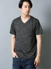 杢テレコ胸ポケット付き Vネック半袖Tシャツ
