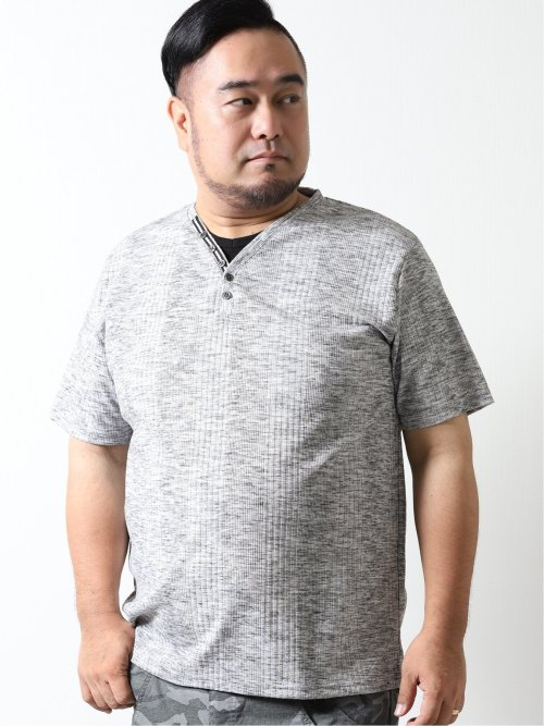 【大きいサイズ】グランバック/GRAND-BACK トリッキーランダムテレコ フェイクレイヤード半袖Tシャツ