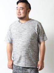 【大きいサイズ】グランバック/GRAND-BACK トリッキーリップル フェイクレイヤード半袖Tシャツ