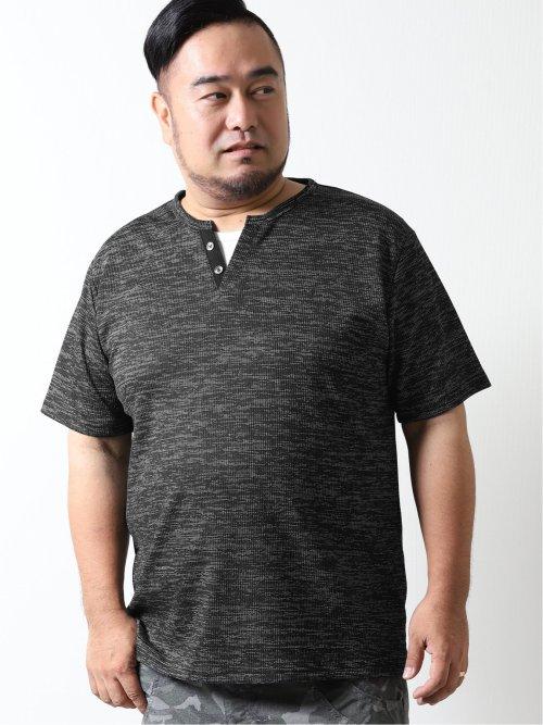 【大きいサイズ】グランバック/GRAND-BACK 杢テレコ フェイクレイヤード半袖Tシャツ