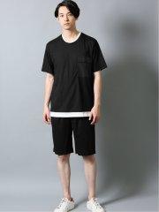 接触冷感 セットアップ フェイクレイヤード半袖Tシャツ