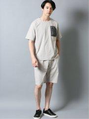 ストレッチ吸水速乾 セットアップ クルーネック半袖Tシャツ